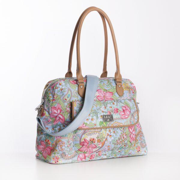 lilio blauwe tas print blue bag pink flower
