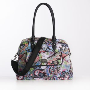 black paisley PVC handles carry all bag