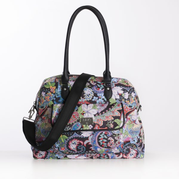 black paisley PVC handles carry all bag