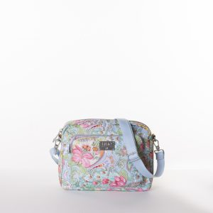 lilio shoulder bag schoudertas blauw blue met roze bloemen