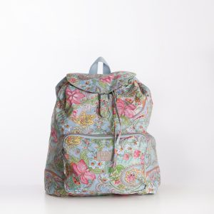 lightweight backpack in blue with pink florals flowers