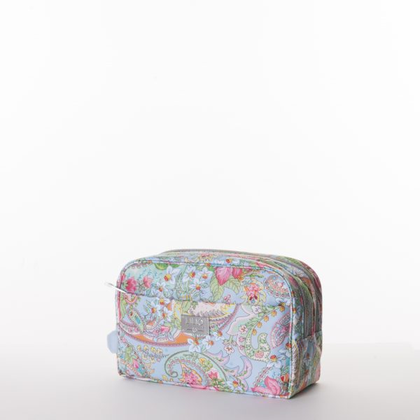 lilio blue beautybag case with print and pink flowers