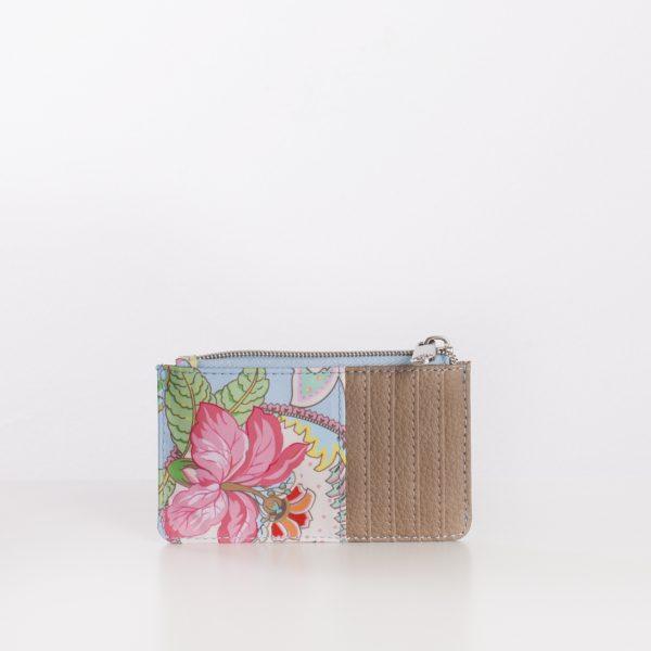 card holder wallet blue print paisley pink flowers