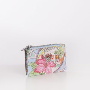 card holder wallet blue print paisley pink flowers