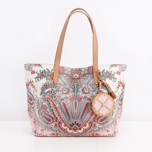 lilio paisley shopper leather bag pink