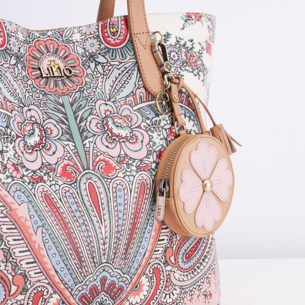 lilio paisley shopper leather bag pink