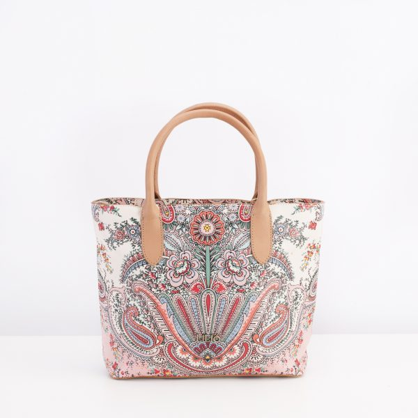 paisley leather handbag lilio white and pink