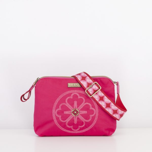 hot pink shoulder bag embroider