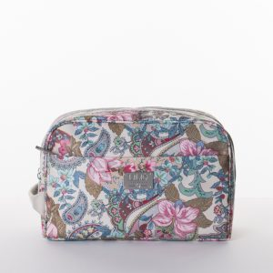 pocket cosmetic bag zipper sand paisley