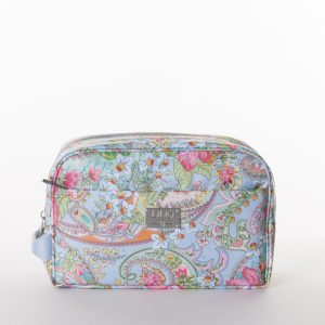 pocket cosmetic bag zipper blue paisley