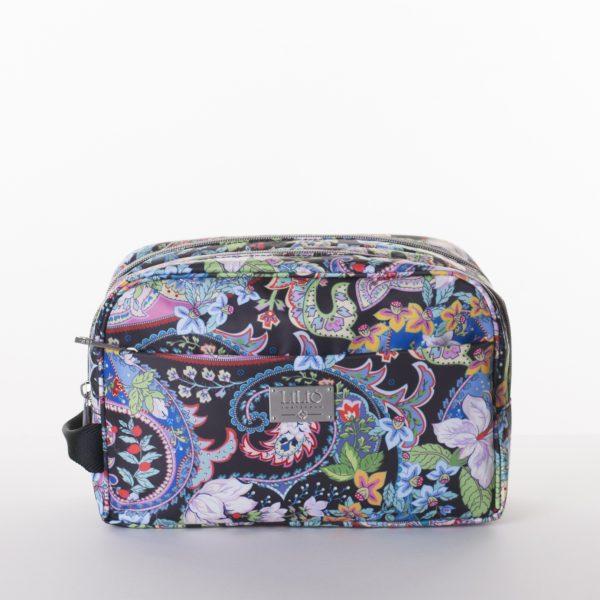 pocket cosmetic bag zipper black paisley