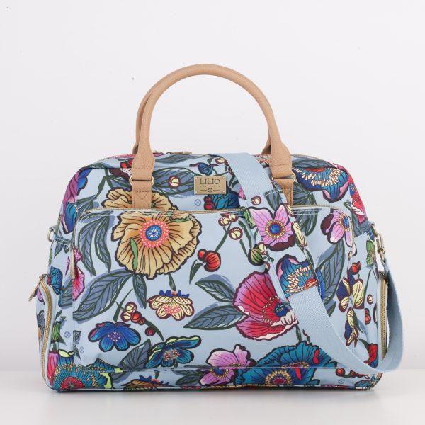 reistas travelbag blauw blue floral