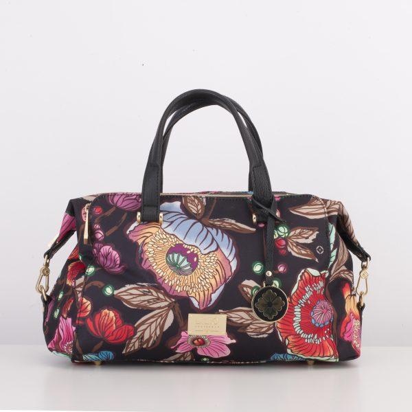 black handbag with red flower print