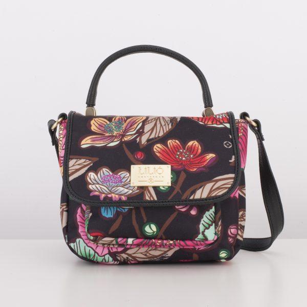 black shoulder bag floral with handle