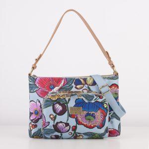 blue flat shoulder bag floral