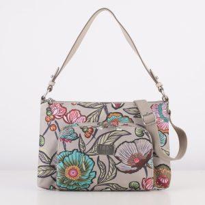 flat shoulder bag sand blue floral