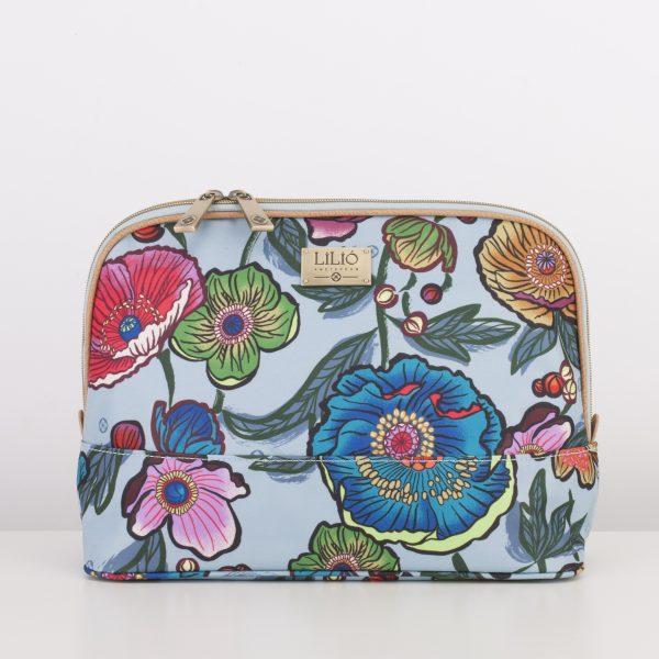 L cosmetic bag blue floral