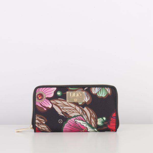 black zip wallet flat lilio floral