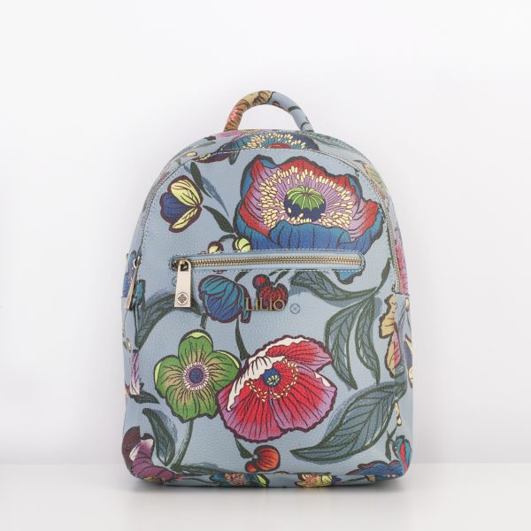 blue faux leather backpack floral print