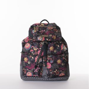black backpack with pink flowers