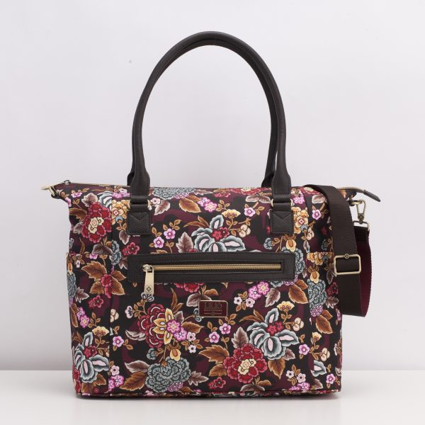 brown carry all bag with flowers