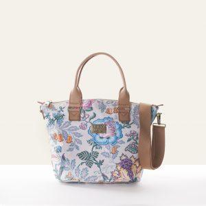handbag sand white floral