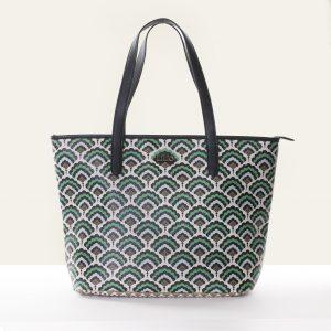 pattern mix bag shopper emerald green
