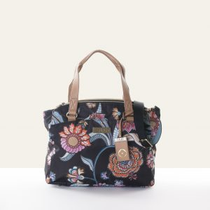 black handbag chintz floral flower