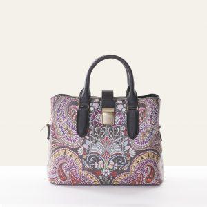 handbag paisley brown leather
