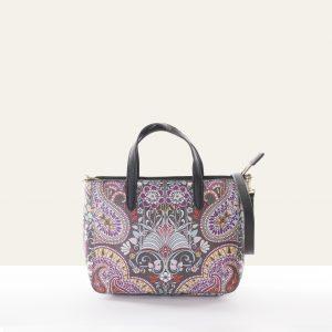 small handbag brown paisley faux leather